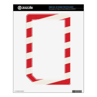 PAPER092 RED CREAMY WHITE CANDY CANDYCANE STRIPES SKIN FOR THE NOOK COLOR