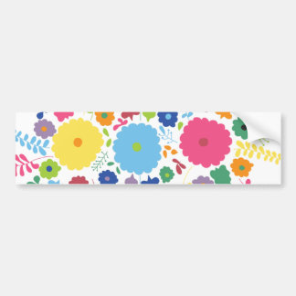 PAPER558 BRIGHT COLORFUL HAPPY FLOWERS CARTOON MEX BUMPER STICKER