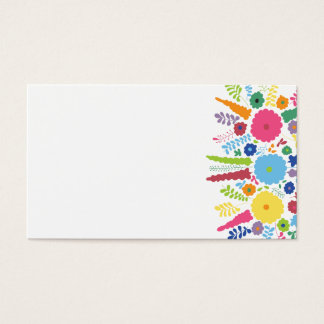 PAPER558 BRIGHT COLORFUL HAPPY FLOWERS CARTOON MEX BUSINESS CARD