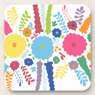 PAPER558 BRIGHT COLORFUL HAPPY FLOWERS CARTOON MEX COASTER