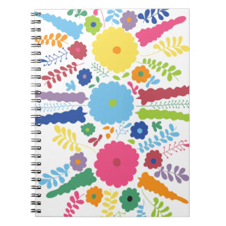 PAPER558 BRIGHT COLORFUL HAPPY FLOWERS CARTOON MEX SPIRAL NOTEBOOK