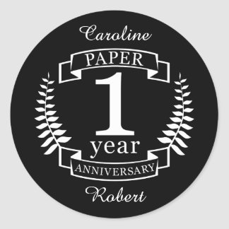 Paper 1st wedding anniversary 1 year classic round sticker