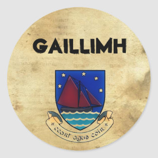 paper_33, Logogalwayco2, Gaillimh Classic Round Sticker