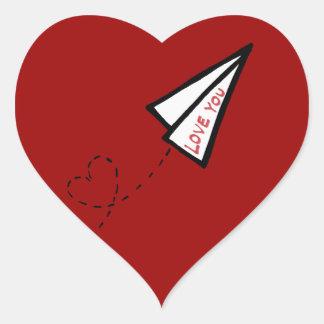 Paper Air Plane Love Letter Sticker