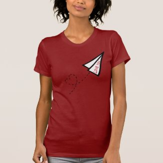 Paper Air Plane Love Letter T-shirts