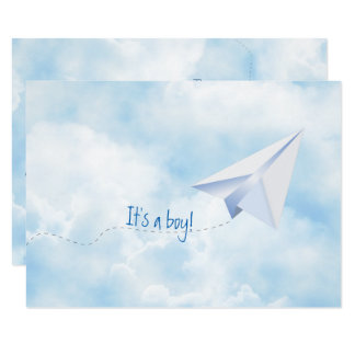 Paper Airplane Baby Shower Invitation