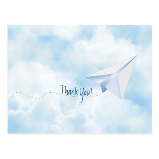 Paper Airplane Baby Shower Thank You Postcard