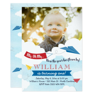 Paper Airplane First Birthday Invitation
