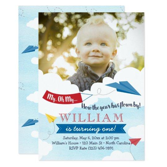 Paper Airplane First Birthday Invitation