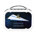 Paper Airplane Flying With Pilot In Space Lunch Boxes