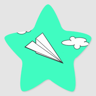 Paper Airplane in the Sky Star Sticker