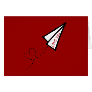 Paper Airplane Love Letter Valentine's Day Card