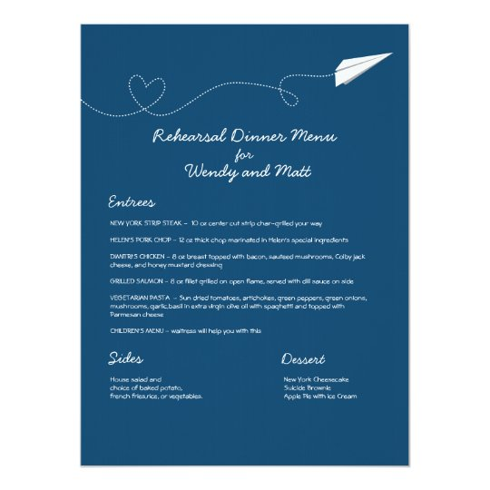 Paper Airplane Menu Card