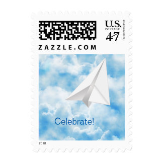 Paper Airplane Personalized Postage