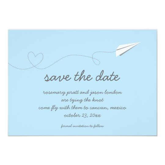 Paper Airplane Save the Date Card