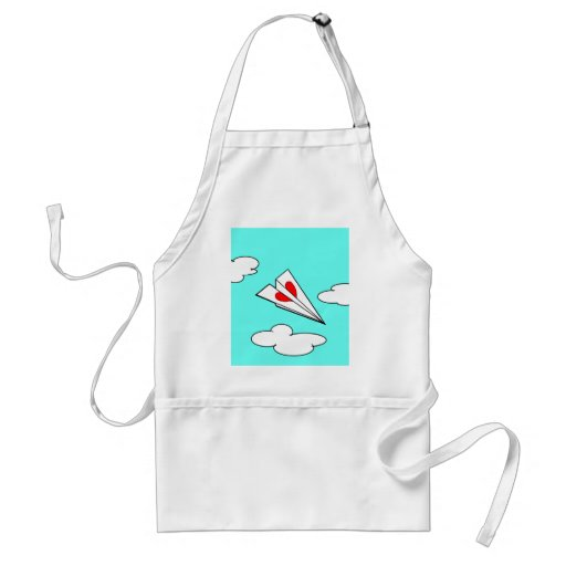 Paper Airplane with Heart Adult Apron