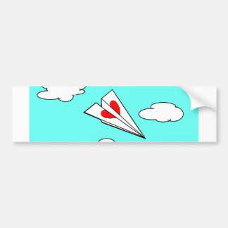 Paper Airplane with Heart Bumper Sticker