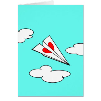 Paper Airplane with Heart Card