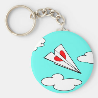 Paper Airplane with Heart Keychain
