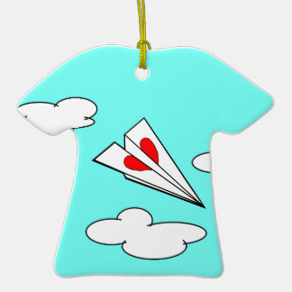 Paper Airplane with Heart Ornaments