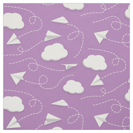 paper airplanes flying between clouds lavender or any color fabric