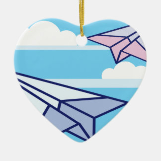 Paper Airplanes in the sky Ceramic Ornament