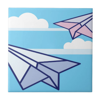 Paper Airplanes in the sky Ceramic Tile