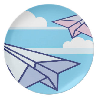 Paper Airplanes in the sky Dinner Plate