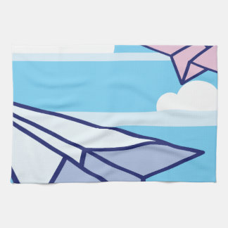 Paper Airplanes in the sky Kitchen Towels