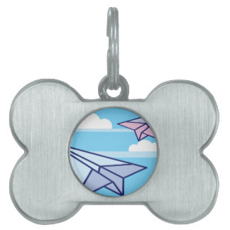 Paper Airplanes in the sky Pet ID Tag