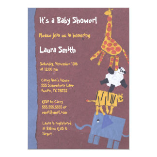 Paper Animal Collage Baby Shower Invitation