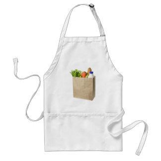 Paper bag full of groceries apron