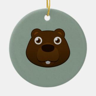Paper Beaver Ceramic Ornament