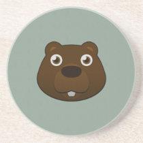 Paper Beaver Sandstone Coaster