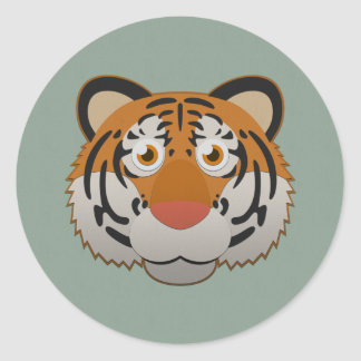 Paper Bengal Tiger Classic Round Sticker