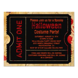 Paper Blood Splatter Halloween Ticket 4.25x5.5 Paper Invitation Card