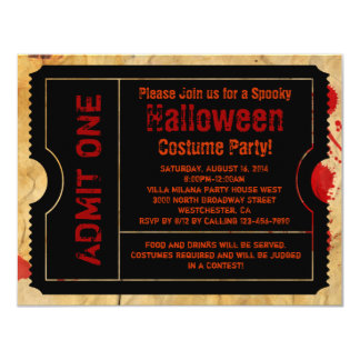 Paper Blood Splatter Halloween Ticket Card