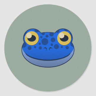 Paper Blue Frog Classic Round Sticker