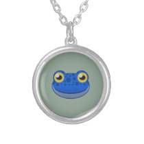 Paper Blue Frog Silver Necklace