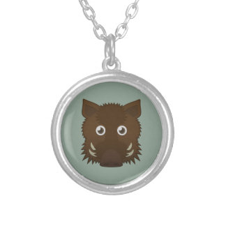 Paper Boar Round Pendant Necklace