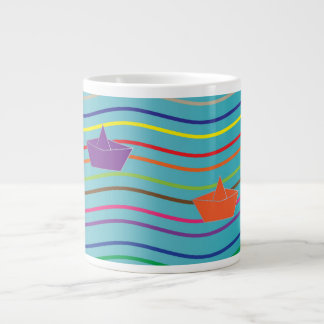 Paper boats floating on the water large coffee mug
