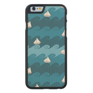 Paper Boats Pattern Carved Maple iPhone 6 Slim Case