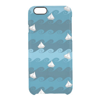 Paper Boats Pattern Clear iPhone 6/6S Case