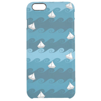 Paper Boats Pattern Clear iPhone 6 Plus Case