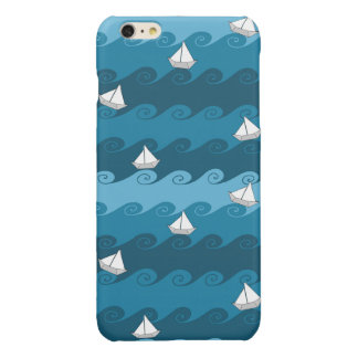 Paper Boats Pattern Glossy iPhone 6 Plus Case