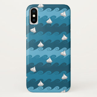 Paper Boats Pattern iPhone X Case
