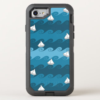 Paper Boats Pattern OtterBox Defender iPhone 8/7 Case