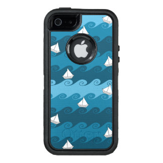 Paper Boats Pattern OtterBox Defender iPhone Case