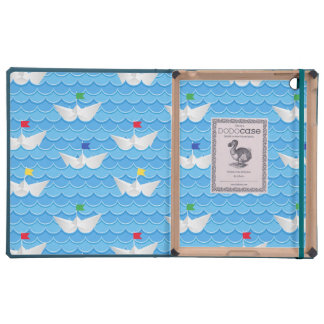 Paper Boats Sailing On Blue Pattern