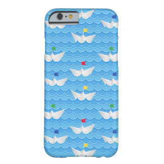 Paper Boats Sailing On Blue Pattern Barely There iPhone 6 Case